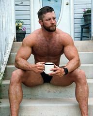 1423 (rrttrrtt555) Tags: hair hairy chest muscles beard shoulders arms legs watch band briefs swimear cuo coffee sitting masculine reflective stairs stare door porch flowers attitude drink eyes ripped lounge outdoors squint veins wristband