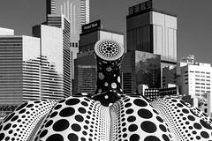 Kusama's Pumpkin in Hong Kong (Hong Kong, China. Gustavo Thomas © 2018) (Gustavo Thomas) Tags: kusama sculpture pumpkin art openair exhibition buildings hongkong china asia japaneseart shapes lines city mono monoart blackandwhite bnw