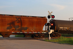 Cross Country Crossing (view2share) Tags: franklingrove illinois northernillinois genevasub deansauvola evening august112018 august2018 august 2018 haze smoke summer rural up unionpacific manifest doubletrack eastbound railway rr railroading railroad railroads rail rails railroaders rring roadtrip freight freighttrain freightcar freightcars track transportation trains tracks train transport trackage trees travel crossing shadow crossbuck