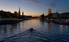 A boat ride on the Limmat (eichlera) Tags: zürich zurich switzerland city dusk twilight limmat