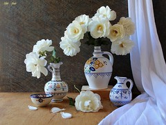 White Multitude (Esther Spektor - Thanks for 12+millions views..) Tags: stilllife naturemorte bodegon naturezamorta stilleben naturamorta composition creativephotography art spring tabletop flowers roses curtain pitcher vase bowl petal ceramics pattern ambientlight white green blue yellow beige estherspektor canon