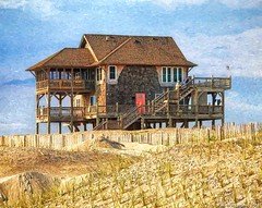 A Vacation House at Mirlo Beach - Rodanthe, North Carolina (PhotosToArtByMike) Tags: mirlobeach outerbanks smalltown obx aerialview marshes dunes sanddunes northcarolina nc outerbanksnorthcarolina seashore capehatterasnationalseashore darecounty