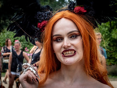 Castlefest 2018 Redhead Showing Teeth (FishOnChips) Tags: castlefest cosplay lisse netherlands olympus steampunk