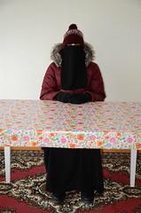 Warm Clothed (Warm Clothes Fetish) Tags: slave girl hijab niqab sweat torture hot warm fleece coat fur boots winter anorak
