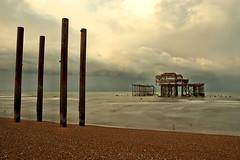 West Pier (Geoff Henson) Tags: cloud sea water ocean pillars columns ruins decay pier tide beach brighton sussex