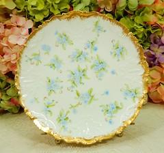 Vintage Limoges Porcelain Plate ~ Blue Flowers ~ Gold Encrusted (Donna's Collectables) Tags: vintage limoges porcelain plate ~ blue flowers gold encrusted