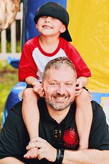 father & son (eva michie) Tags: boy father dad man cool interesting hat awesome party photography camera digital photo people love family black red white yellow smile smiles smiling august summer