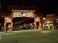 The Gateway to Chinatown (walneylad) Tags: victoria britishcolumbia canada august summer view scenery nature downtown chinatown gate gateway urban city urbanscape cityscape night evening dark light red gold historicdistrict