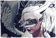 the angels started to cry (kay_1806) Tags: secondlife black white wings catwa blindfold angel demon horns passion