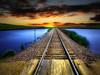 Dakota tracks 21 (mrbillt6) Tags: landscape rural prairie railroad tracks sky pond outdoors country countryside northdakota