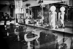 Barber shop (madras91) Tags: nb noiretblanc bw blackandwhite monochrome film ilford delta100 leicam2 m2 summaron summaron35mmf28 shop