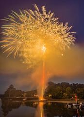 Kingsbridge Fairweek Fireworks. (tramsteer) Tags: tramsteer kingsbridgefairweek estuary ria smke smoke fireworks boats water trees sky devon southhams southwestengland
