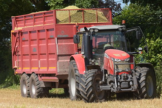 Massey Ferguson 7618 Tractor with a Broughan Engineering Mega HiSpeed Trailer