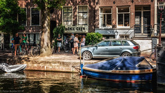 Bike city (peterpj) Tags: amsterdamjordaan bikecity bloemgracht canal peaple tourists bike car boat sonua6300 sigma3014c colorefexpro4