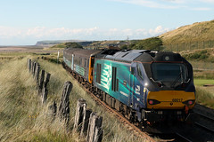 68017 'Hornet' and 68005 'Defiant' 2C33 (Cumberland Patriot) Tags: arriva trains north northern drs direct rail services kd carlisle kingmoor tmd traction maintenance depot cumbria caterpillar c17516 engine cat cats stadler vossloh uk light class 68 68005 defiant 68017 hornet diesel electric dieselelectric locomotive loco engines paytrain passenger train cumbrian coast railway line seascale links foot level crossing copeland borough railroad double track section dbso driving brake second open carriage 9709 2c33