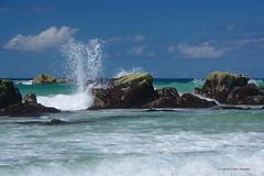 3KB08282a_C (Kernowfile) Tags: cornwall stives porthmeorbeach beach surf waves breakers spray water sea blue sky clouds rocks