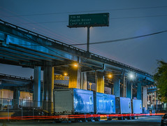 last san francisco exit (pbo31) Tags: sanfrancisco california nikon d810 color august summer 2018 boury pbo31 city urban somisspo freeway central roadway highway support steel night dark under blue lightstream motion traffic ramp overpass exit ups sign truck