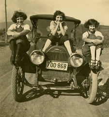 Three on a Chevy, 1922 (Alan Mays) Tags: ephemera photographs photos foundphotos snapshots portraits women three 3 threesome clothes clothing shoes stockings hair hairstyles autos automobiles cars chevrolet chevy logos licenseplates radiators wheels tires headlights windshields roads dirtroads tilted pa pennsylvania 1922 1920s antique old vintage