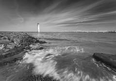 High Tide at Perch Rock Lighthouse (Rob Pitt) Tags: ocean sea sky monochrome water a7rii canon 1740 f4 l polarising filter blackwhite wirral newbrightonlighthouse