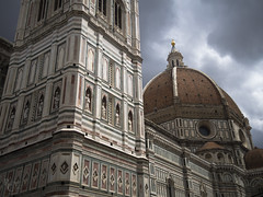 Dark Clouds Over the Duomo (RobertCross1 (off and on)) Tags: 20mmf17panasonic brunelleschi duomo em5 europe firenze florence italia italy middleages omd olympus renaissance santamariadelfiore toscana tuscany architecture campanile cathedral church city cityscape clouds dome landscape medieval storm tower urban