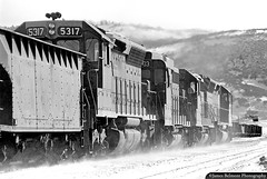 Iron Mountain Ore on Soldier Summit (jamesbelmont) Tags: monochrome riogrande drgw emd sd45 gp40 gp30 snow ice ironore soldiersummit utah railway