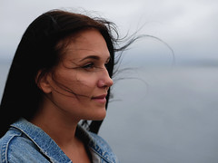 Lea (livsillusjoner) Tags: woman women girl girls young beauty beautiful pretty naturallight outside outdoors outdoor friend panasoniclumix panasonic lumix olympus hair wind windy brunette jeans jeansjacketblue water ocean fjord sky landscape