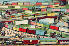 Zig-zag Passenger and Freight Train by an unknown artist. Original from Library of Congress. Digitally enhanced by rawpixel. (Free Public Domain Illustrations by rawpixel) Tags: antique art arts bridge bulk business businesses busy cargo carriage chromolithograph color colorful congested conveyance decoration drawings freight freighttrain haul illustrated illustration load locimage locomotives logistics merchandise messy old painting passenger prints sketch trade trading traffic trains transport transportation unknownauthor vintage zigzag
