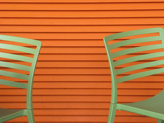 Green chairs and orange wall *explored*