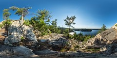 July Afternoon just outside Killarney Provincial Park: Alligator Rock on Charlton Lake (interactive 360degree pano) (auggie w) Tags: north ontario canada vr virtualreality killarney killarneyprovincialpark rock tree sunset