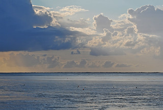 Multiple weather conditions at the wadden sea: from rain to sun - from dark to light