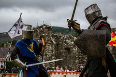 Knight Battle (Coed Celyn Photography) Tags: knights knight ardudwy harlech dolgellau cymer abbey north wales welsh cymru battle medieval reenactment re enactment enactors larp living history historic historical armor armour weapons weapon sword shield axe flail outfit costume dress tabard chainmail