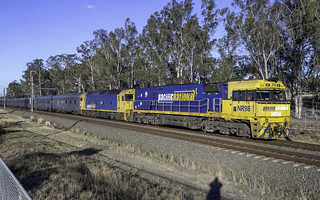 Today's Perth bound Indian Pacific being hauled this week by Pacific National loco's NR98/G530.  Seen here near Werrington in outer western Sydney.