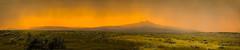 Sunset Storm (wyojones) Tags: wyoming bighornbasin cody oregonbasinturnoff greybullhighway us14 heartmountain absarokamountains sagebrush storm summer sun sunset grass fence barbedwirefence clouds cloudscape rain panorama pano wyojones np