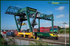 The Green Machine (Resilient741) Tags: freightliner intermodal uk united kingdom railfreight freight train trains depot yard loco locomotive crane flim fl lawley street landor birmingham city railways railway br british rail sunny wide angle photography shed 66504 class 66