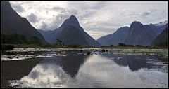Mitre Peak (VIII) (J-o-h-n---E) Tags: nz newzealand newzealandsouthisland fiord fiordland milfordsound mitrepeak mountains foreshore landscape sky reflection pools water