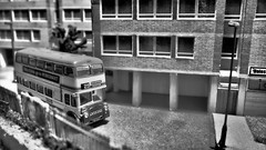WYPTE Bus Working Round the Estate. (ManOfYorkshire) Tags: route25 holmewood estate council highrise wypte metro metrobus bradford 2242 fky242e leyland pd3a4 eastlancs corgi ooc scale model 176 oogauge diecast diorama