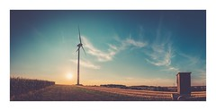 Wind turbine against the evening sun (Eckehard Straßweg) Tags: windrad fujifilmxt2 sunset nature natur sommer summer wind sky bluesky blauerhimmel abendhimmel warm hot heiss felder fields nationalgeographic