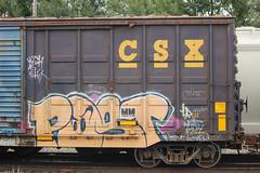 Post (NJphotograffer) Tags: graffiti graff trackside railroad rail art freight train bench benching box car boxcar post
