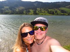 Summer in Switzerland (evil king) Tags: swiss switzerland spass sun schweiz summer see lake bikini bikinigirl couple happy chill chillers clouds water wasser mountains swissmountains