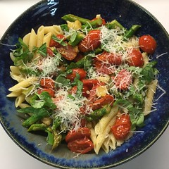 Summer Pasta Dish (Philosopher Queen) Tags: pasta tomatoes penne asparagus summerdinner tasty basil