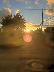 August Sunset 2 (sjrankin) Tags: 17august2018 edited view road clouds trees sun sky sunset kitahiroshima hokkaido japan hdr