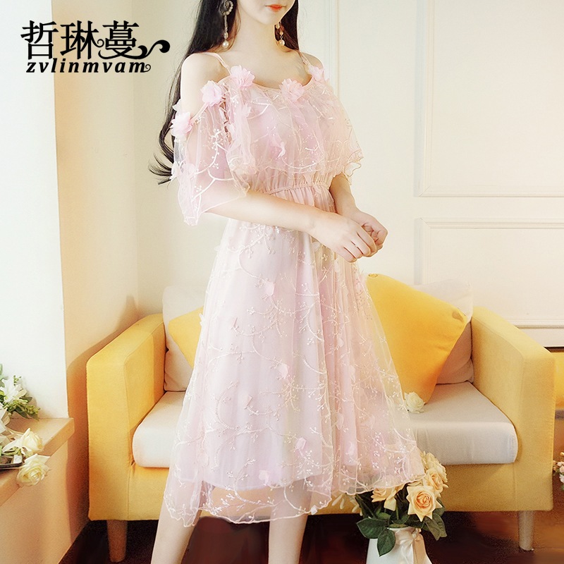 2018 summer new female fairy dress, little Korean version, students are slim, immortal, short and short in spring.