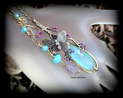 Butterfly  blue chalcedony with amethyst (tangocatgems1) Tags: necklace natureinspired handmade handpainted pendant tangocatgemscom amethyst bluechalcedony