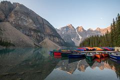 Canoes (luke.me.up) Tags: lake water mountains stillness nikon d850 morainelake banffnationalpark lakelouise canoe boat colors colorful sunrise