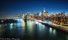 Downtown Skyline at night (ericjmalave) Tags: brookyln manhattan bridges newyork nyc sunset twilight city architecture street longexposure le ny dumbo