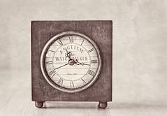 Since 1826 (Daniela 59) Tags: 7dwf crazytuesdaytheme numbers numerals romannumerals antique clock dial wood textures blackandwhite englishwatchmaker danielaruppel