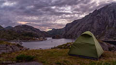 With view on Nusfjord (Norway) (christian.rey) Tags: lofoten nordland norvège no islands iles insel tente zelt camping paysage landscape nusfjord sony alpha a7r2 a7rii 24105