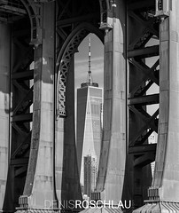 under the bridge (Denis Roschlau) Tags: manhattan manhattanbridge bridge pillar pillars wtc worldtradecenterone worldtradecenter newyork brooklyn dumbo skyscraper building cityscape rivets steel construction masstransit engineer engineering glass