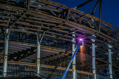 showering sparks (pbo31) Tags: bayarea california nikon d810 color august 2018 summer boury pbo31 urban city sanfrancisco missionbay construction warriors nba chasecenter 3rd basketball arena goldenstate site lightstream motion motionblur night dark black steel weld frame bluehour sparks