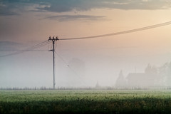 Telephone Lines In The Misty Sunset (k009034) Tags: copyspace finland scandinavia tranquilscene agriculture building cable clouds communication countryside evening farm farming fields fog hut landscape mist nature night nopeople rural silhouette sky summer sunset support telecommunications telephoneline telephonepole trees wire